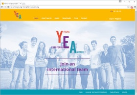 Young Europeans Award Screenshot Website